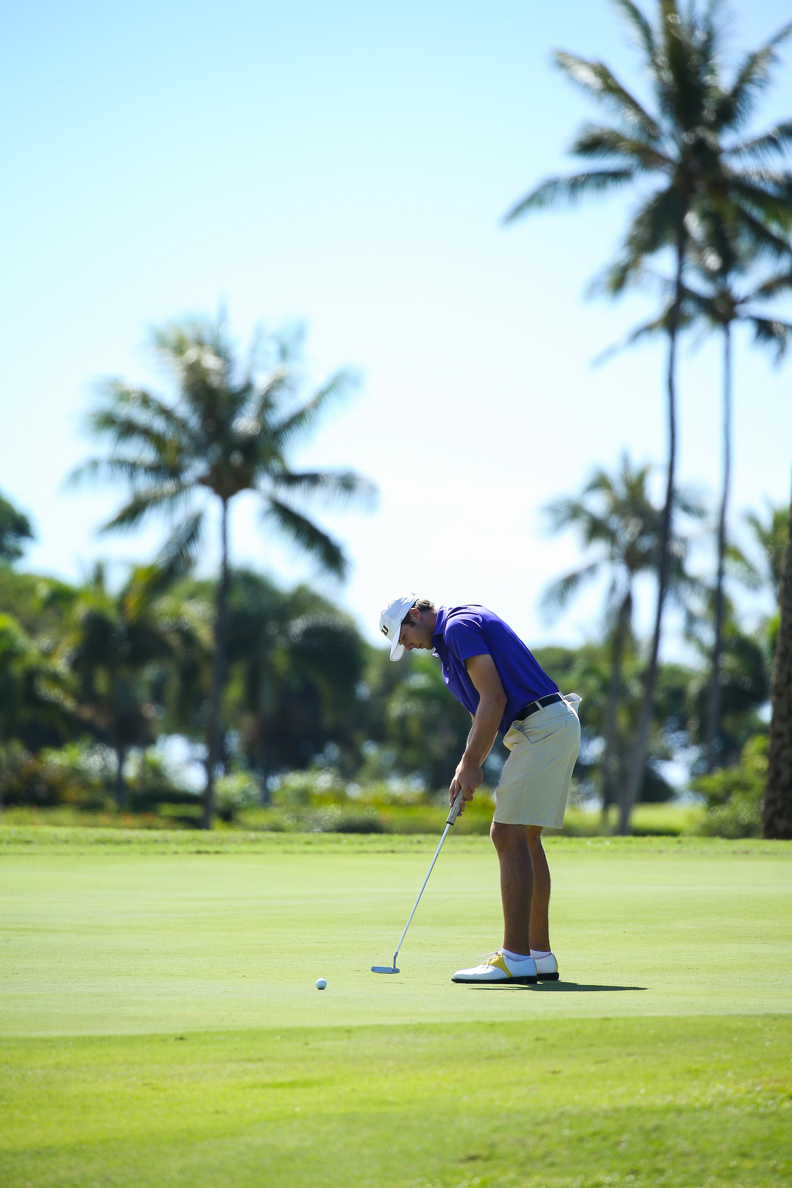 Sam Burns of LSU putts for birdie on number ten during the final round of the 3rd annual Kaanapali Classic collegiate invitational. Kaanapali Royal Course Lahaina, Hawaii November 5th, 2016/ Photo by Aric Becker