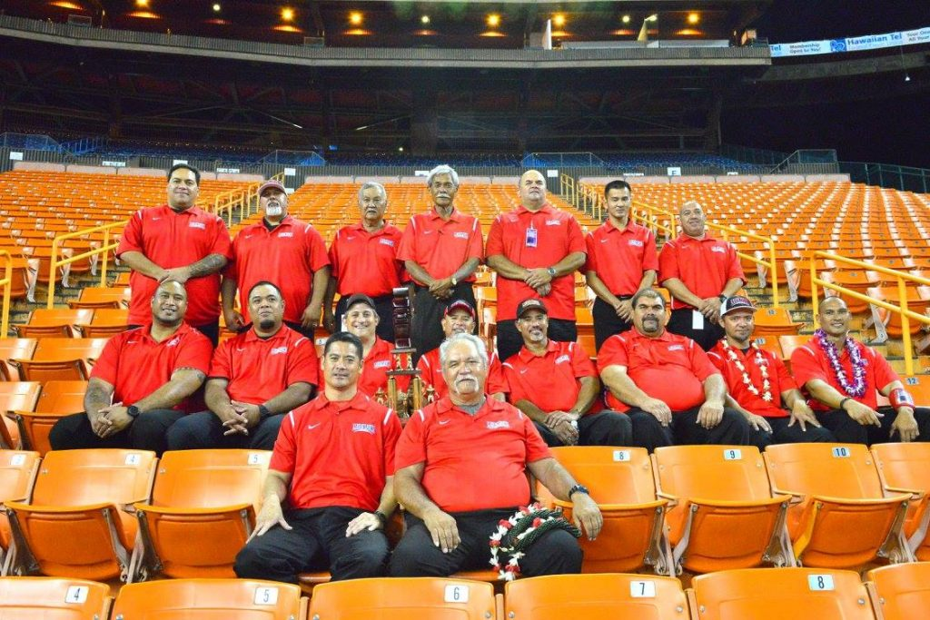 The Lahainaluna High School coaching staff with co-head coaches Garret Tihada and Bobby Watson in the front. Photo by Glen Pascual.