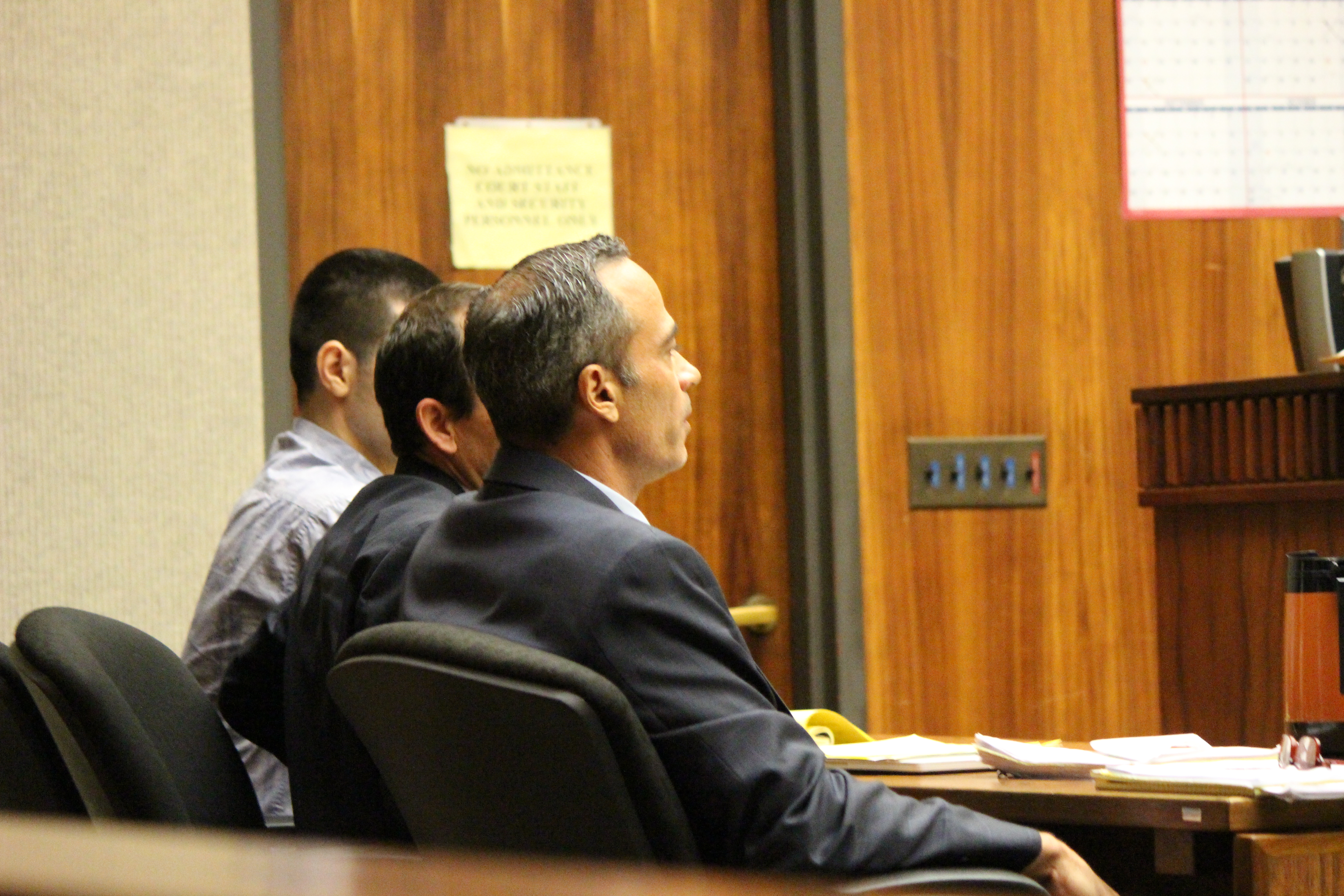 State v Capobianco trail. Defense Attorney Jon Apo in foreground (right) with fellow defense attorney Matthew Nardi (middle) and defendant Steven Capobianco (left) . PC: 11.30.16 by Wendy Osher.
