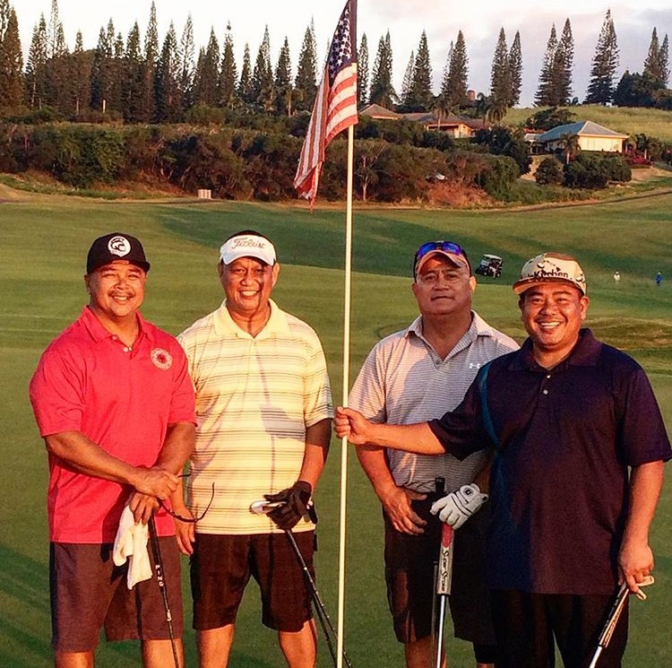 Veteran's William Barut, Perry Yadav, R. Asuncion, Cesar Iniba on the 18th Green of the Plantation Course.