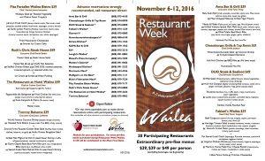 Prix-fixe menus during Restaurant Week Wailea. Photo by Kiaora Bohlool.