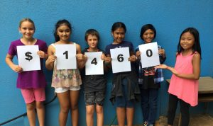 """Kīhei Student Council members display the fundraising results of the first community service project, """"Pennies for Polio."""" (L–R) Ginger Hill (4th), Isabella Romero (5th), Hunter Davis (4th), Ava Arai (4th), Jon Calibuso (5th) and Cliana Yago (4th). Courtesy photo."""
