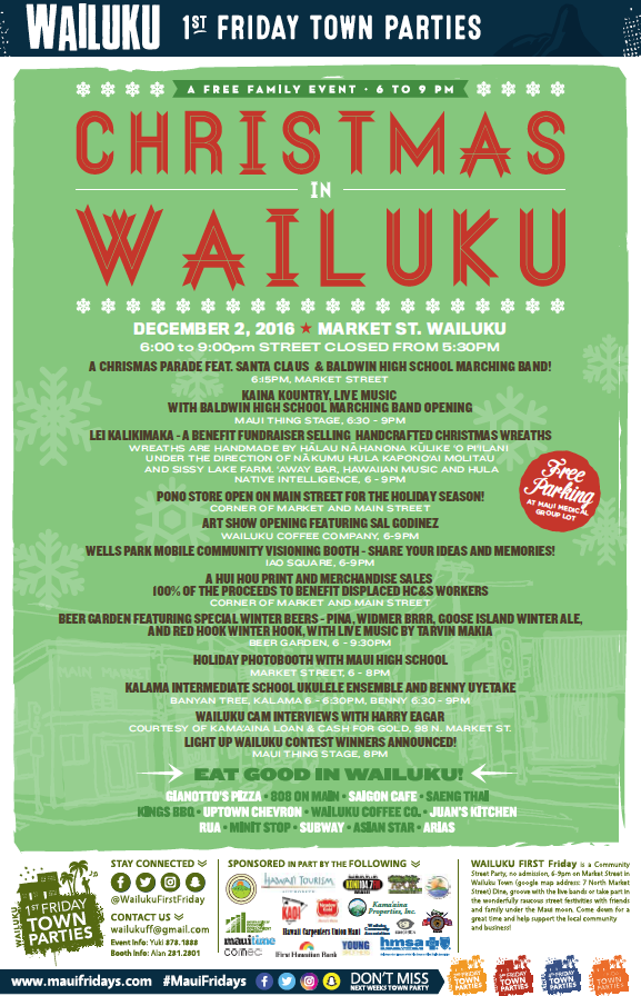 Wailuku First Friday event flyer, Dec. 2, 2016.