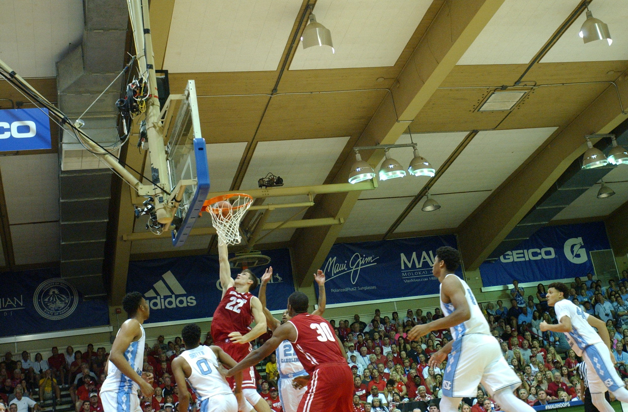UW #22 Ethan Happ. Championship game between UW vs UNC at the 2016 Maui Jim Maui Invitational. PC: Joel B. Tamayo.