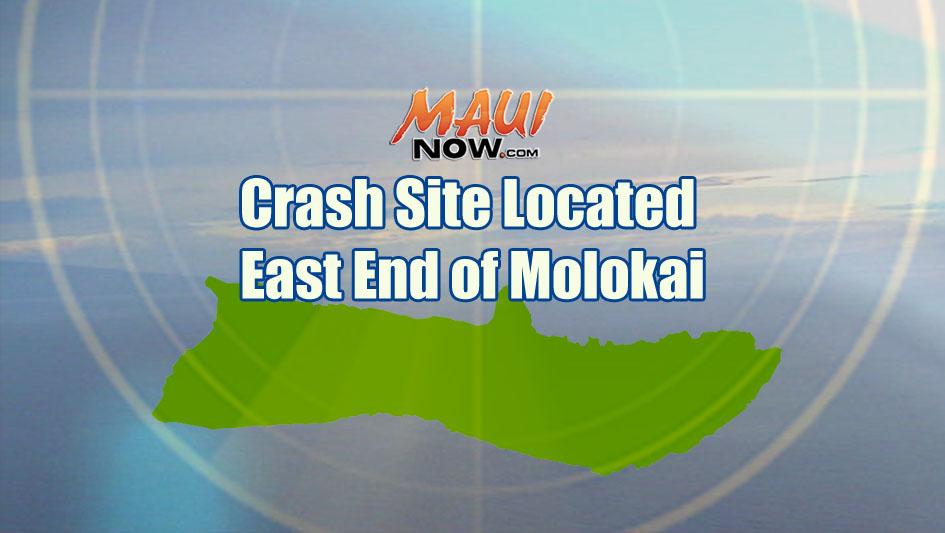 Crash site located, East End of Molokaʻi. Maui Now graphic.