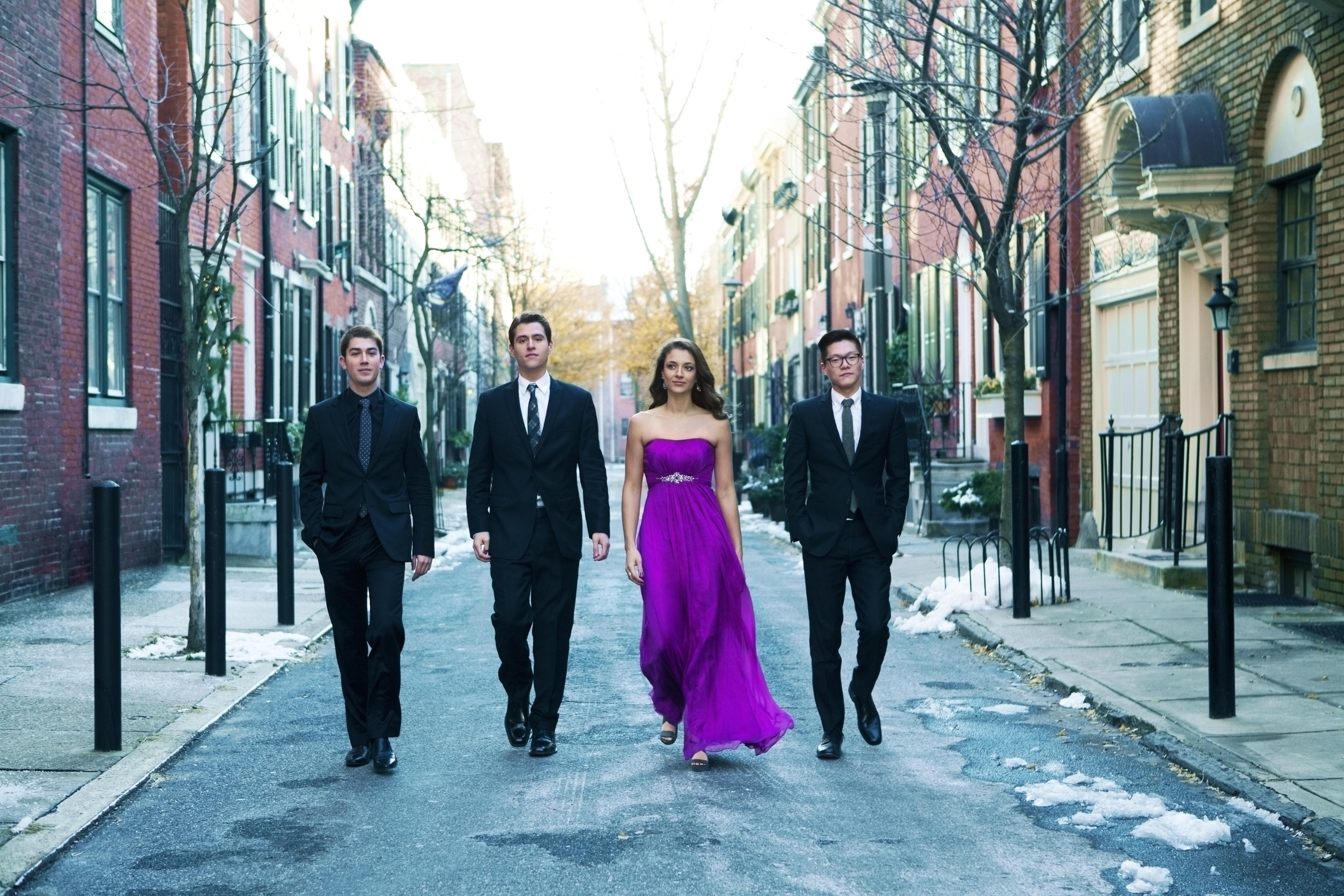 The Dover Quartet consists of Joel Link and Bryan Lee, violin; Milena Pajaro-Van de Stadt, viola; and Camden Shaw, cello.