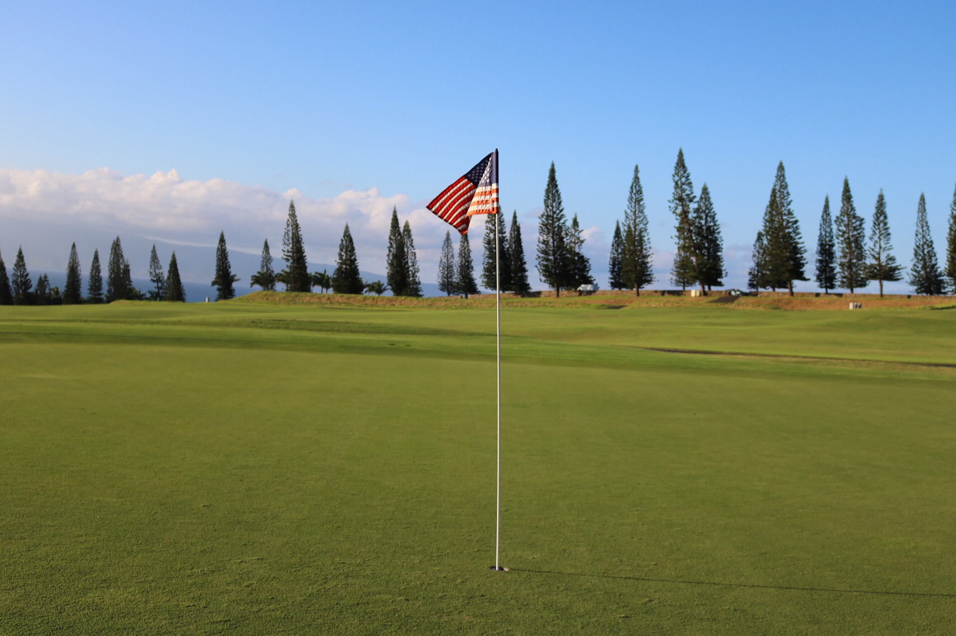 American Flag on the 18th Green of the Plantation Course