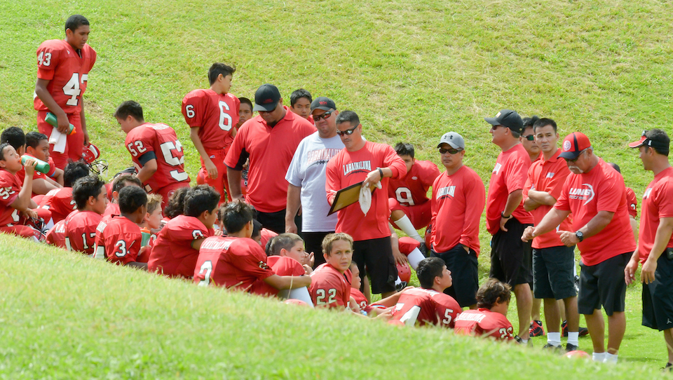 The Lahainaluna varsity coaching staff teaching the Lahaina Big Boyz team during halftime against Wailuku at The Pit Field in April of 2015. Photo by Rodney S. Yap.