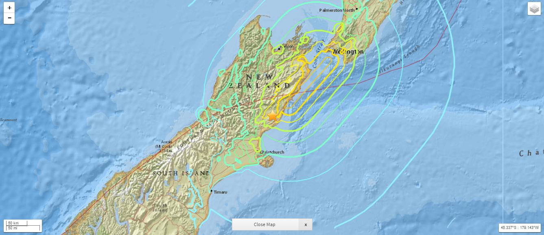New Zealand earthquake 7.8M. (11.13.16) PC: USGS.