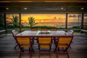 """Mr. Giraldo said the family eats dinner on the lanai nearly every night when in residence. """"We have a beautiful table on the inside, too, but we never sit there,"""" he said. Photo Courtesy: Dante Parducci"""