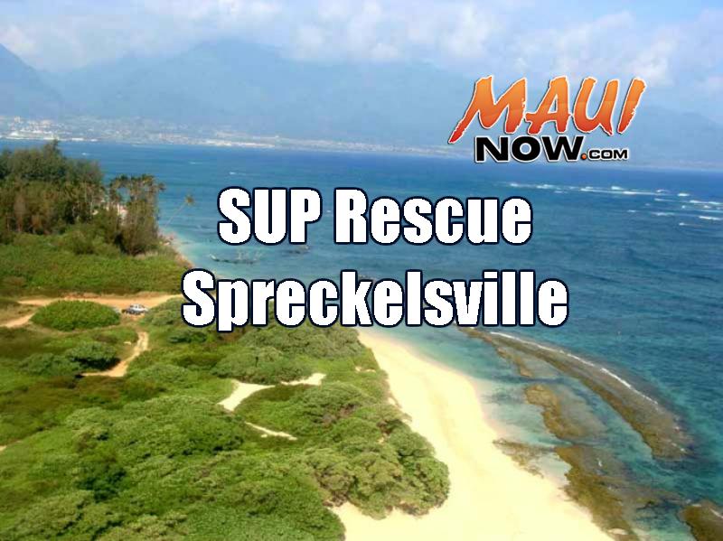 SUP rescue Spreckesville. Maui Now graphic.
