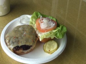 Local lamb burger with tzatziki sauce from 'Ulupalakua Ranch Store. Photo by Kiaora Bohlool.