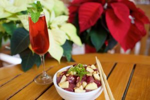 """The 12 Days of Poke"" will take place at KOR with different poke recipes each day, like the Curry-stmas (pictured), and will benefit Imua Family Services. Photo Courtesy."