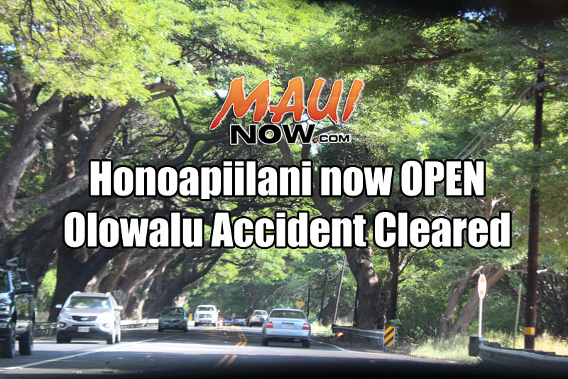 Honoapiʻilani Hwy (30) is now OPEN in Olowalu following a traffic accident. Maui Now graphic/file image.