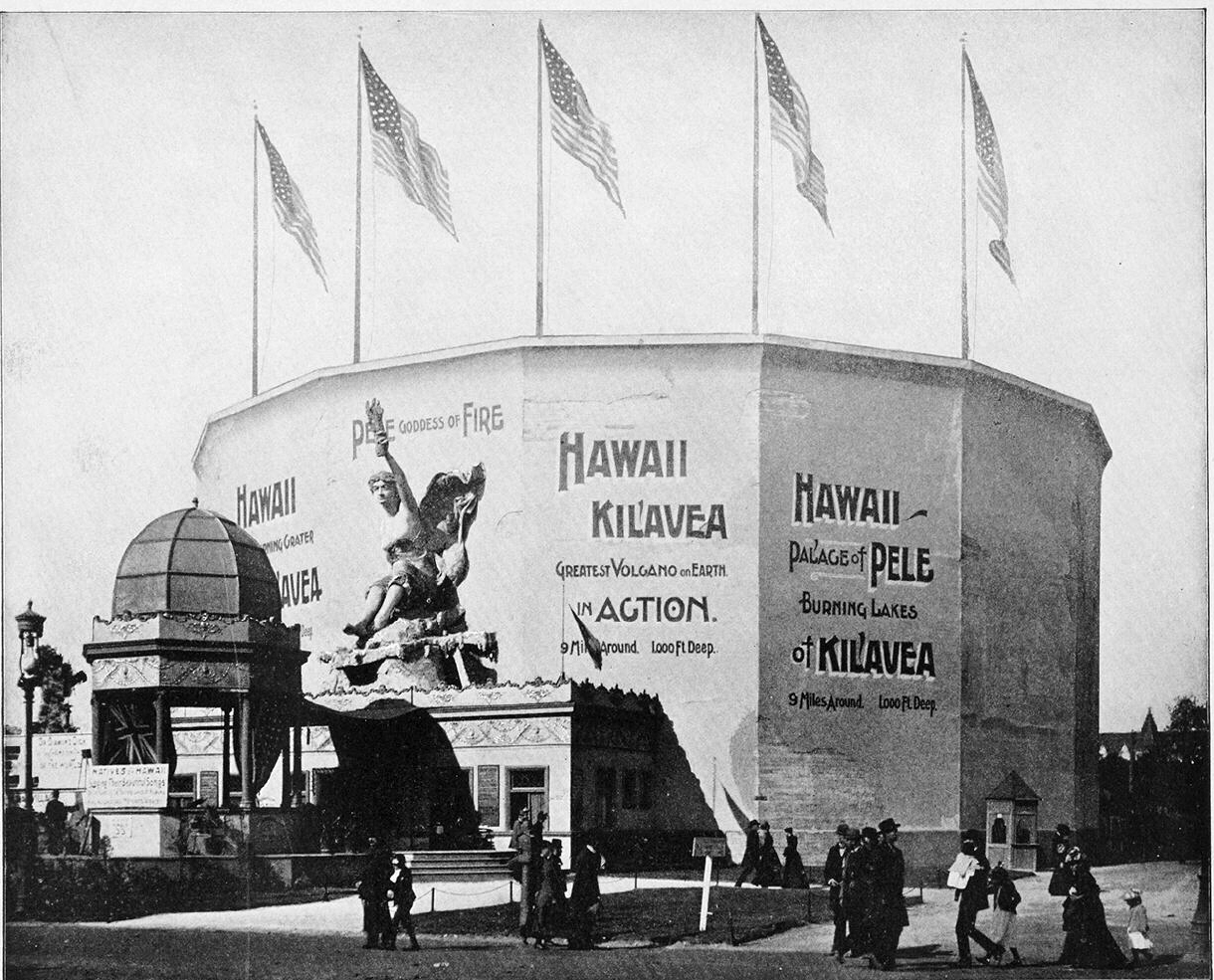 This building housed the Kīlauea cyclorama at the Chicago World's Fair in  1893. Positioned above the entrance to the cyclorama was a statue of Pele,  ...