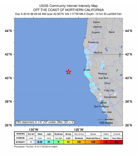California earthquake, 12.08.16. PC: USGS