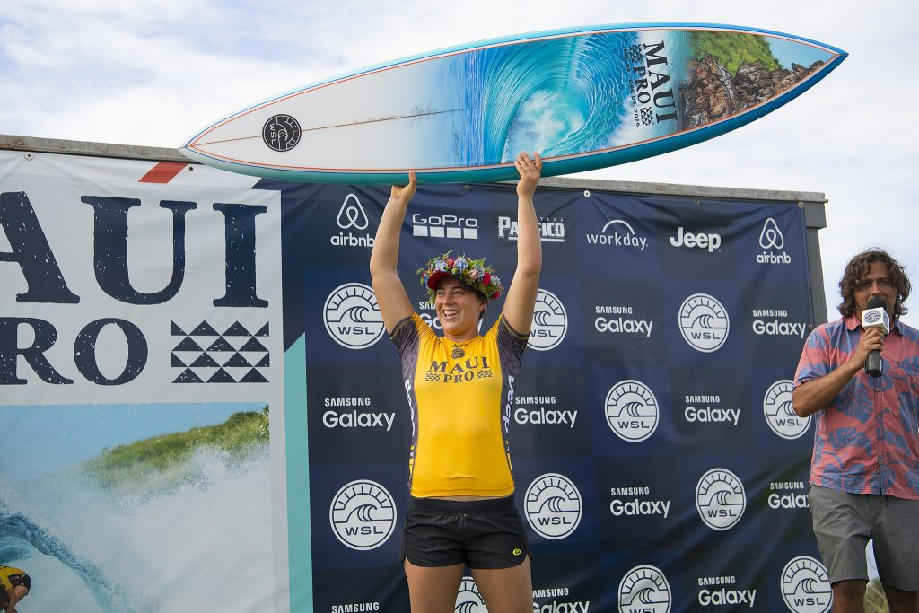 Tyler Wright celebrating her victory at Honolua Bay.