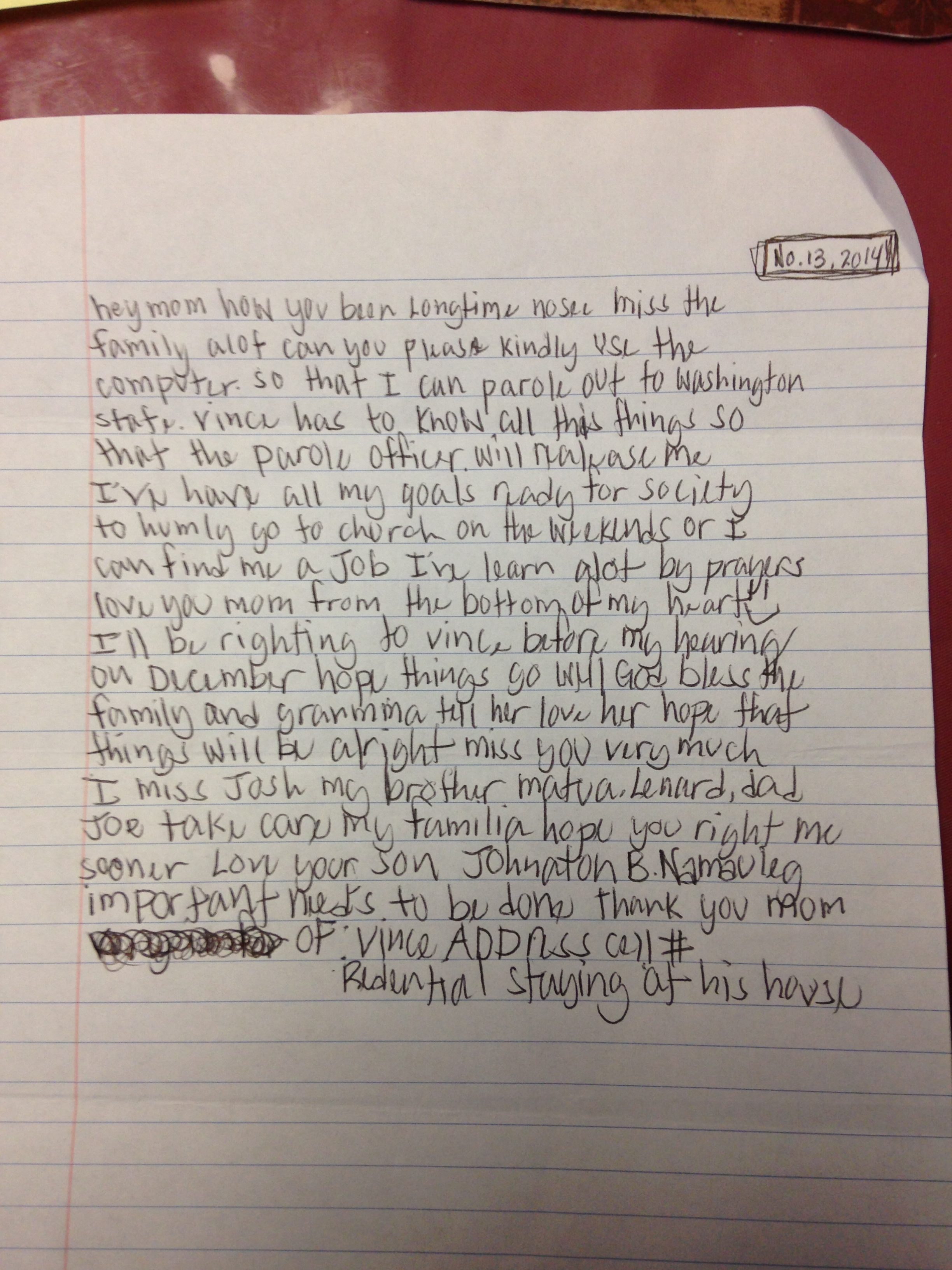 letter from prison answers