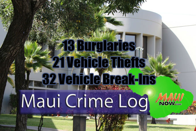 Maui Crime, Oct. 7–13, 2018: Burglaries, Break-Ins, Thefts