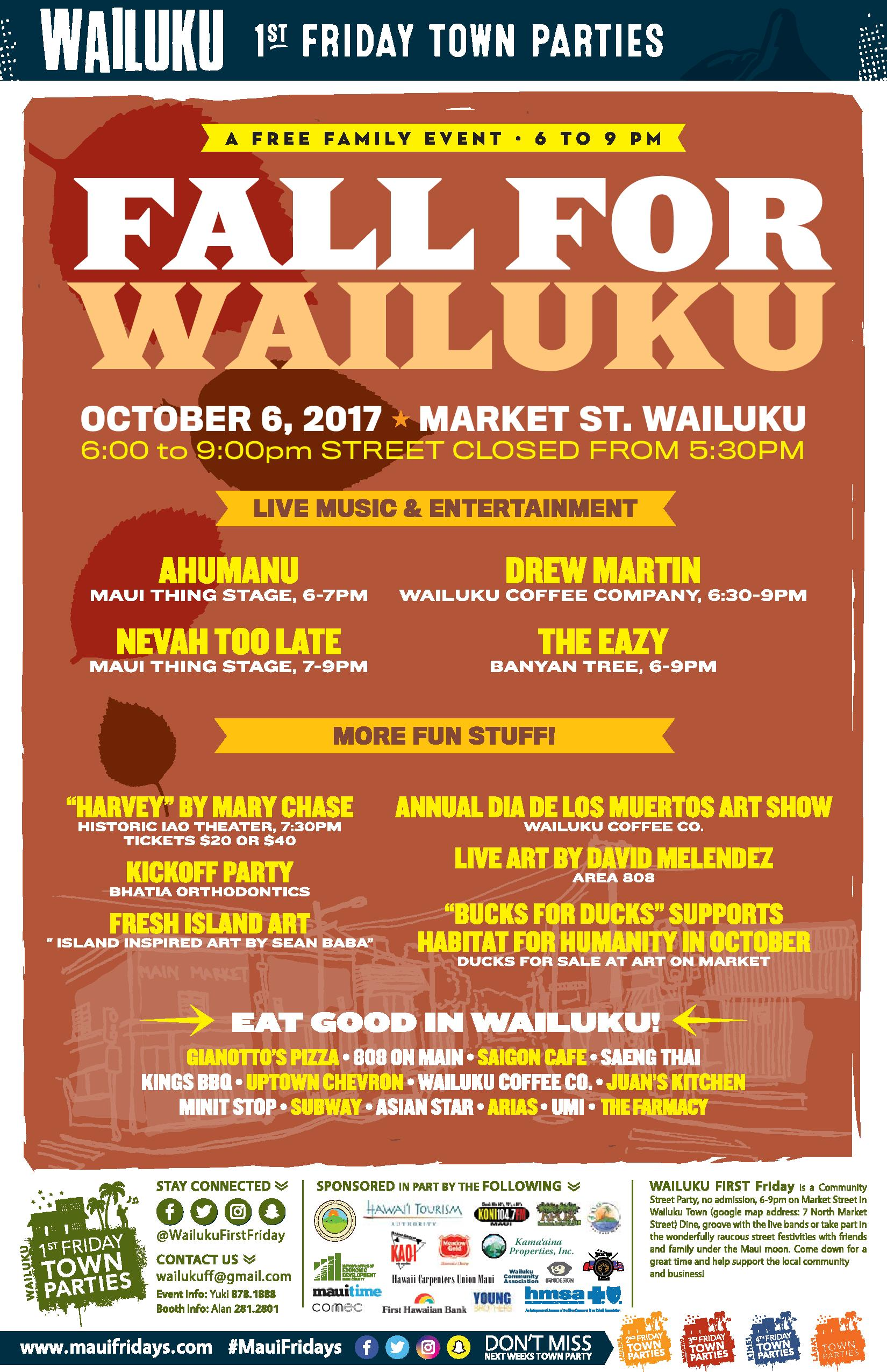 """fe0718f0122 The October 2017 edition of Wailuku First Friday takes place tonight,  Friday, Oct. 6, 2017. This months event will celebrate """"Fall for Wailuku""""  This free ..."""