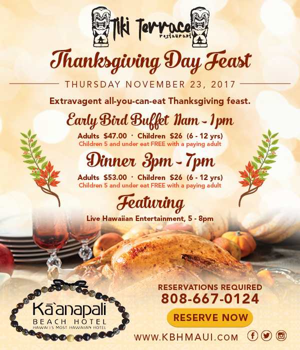 Maui Now : Thanksgiving Day Feast At KBH