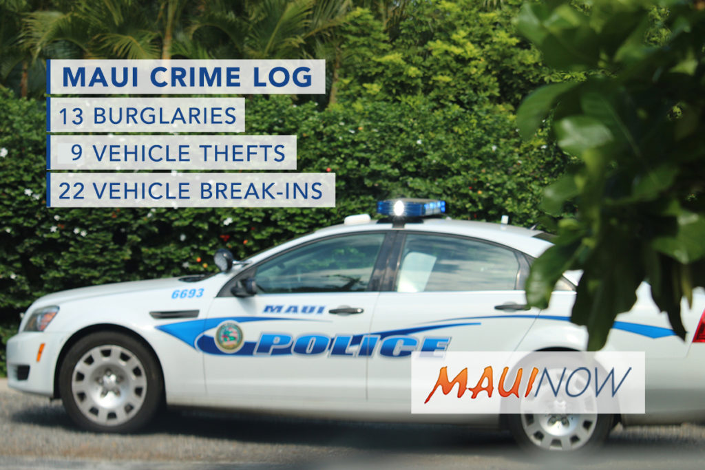 Maui Now : Maui Crime Nov. 5 – 11, 2017: Burglaries, Break-Ins, Thefts