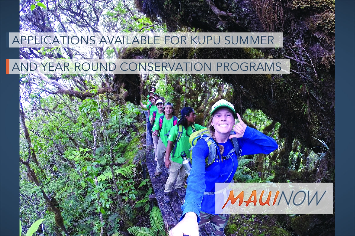 Applications Available for Kupu Summer and Year-Round Conservation Programs