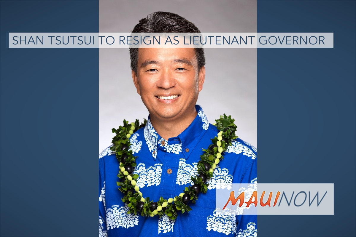 Shan Tsutsui to Resign as Lieutenant Governor