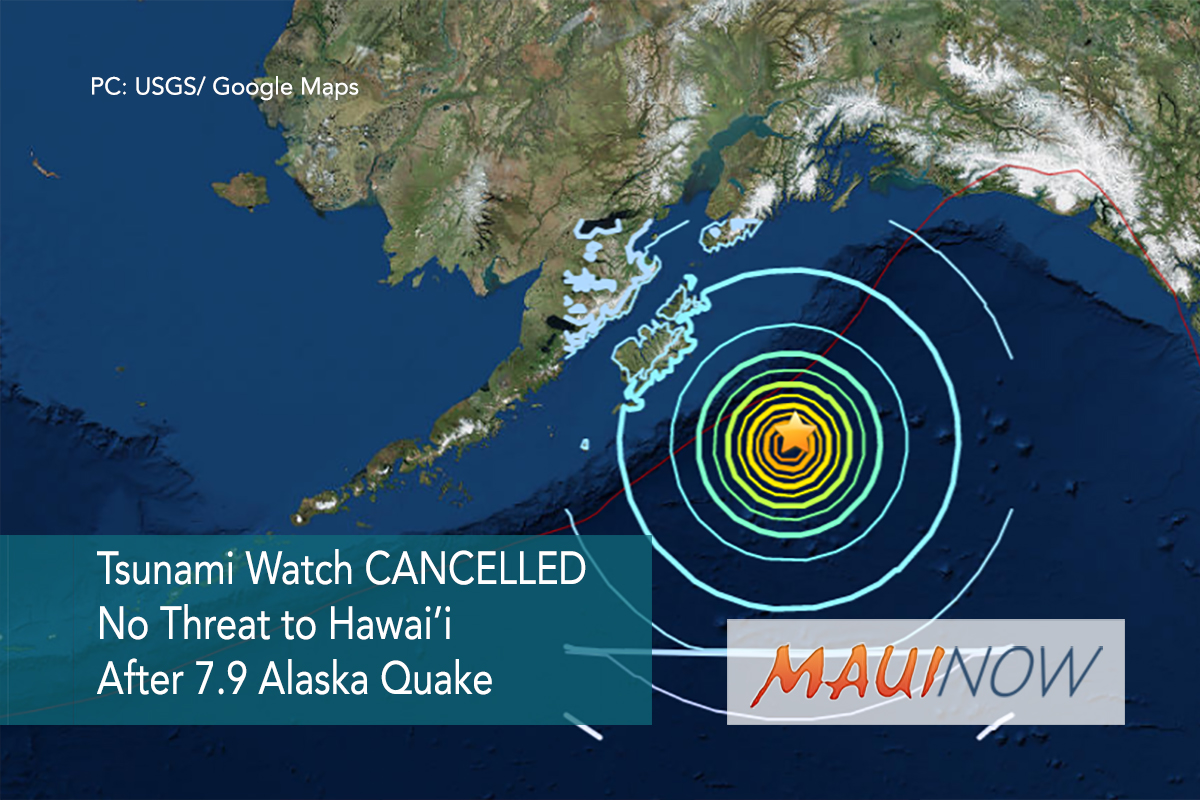 Tsunami Watch CANCELLED, No Threat to Hawai'i After 7.9 Alaska Earthquake