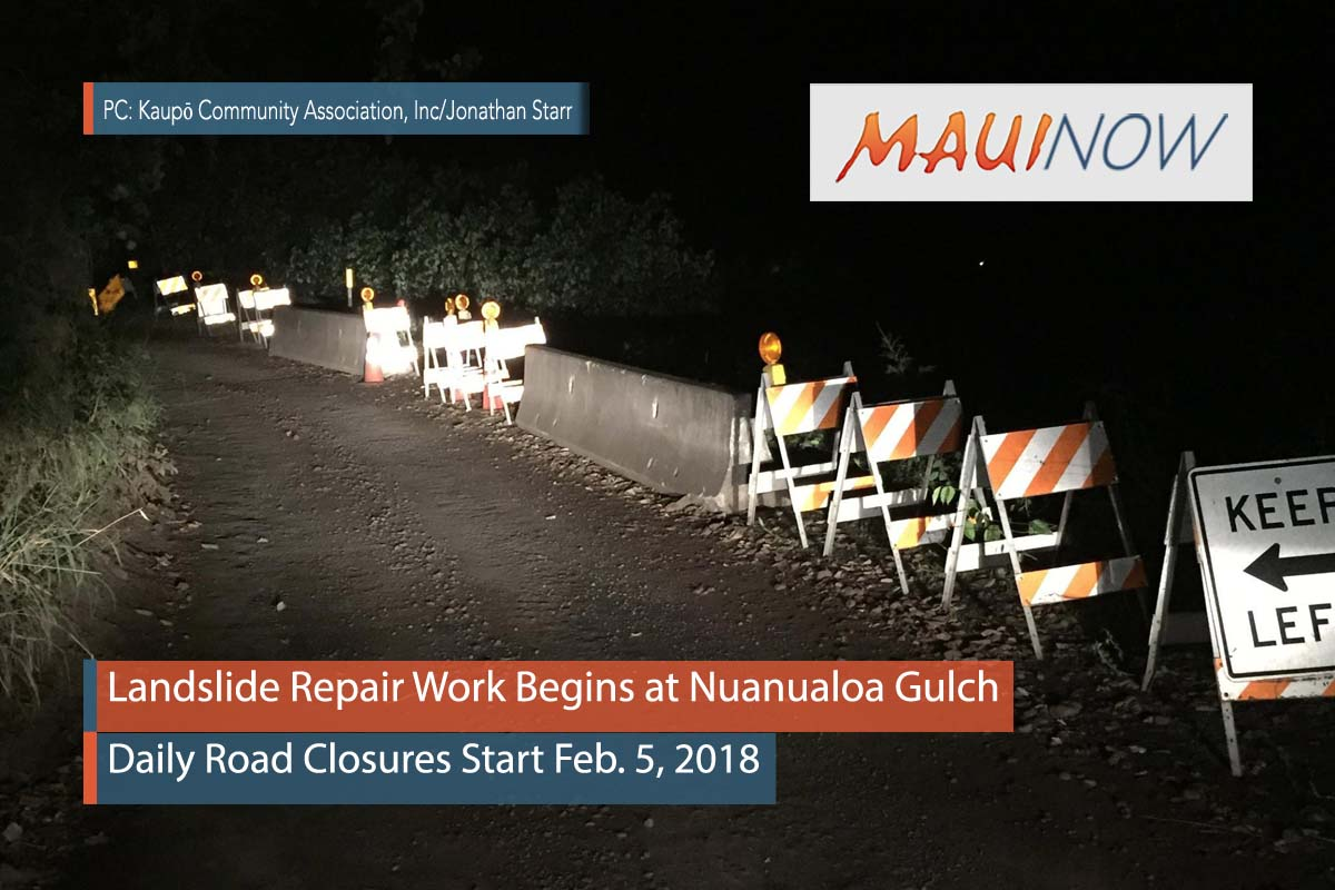 Landslide Repair Work Begins at Nuanualoa Gulch
