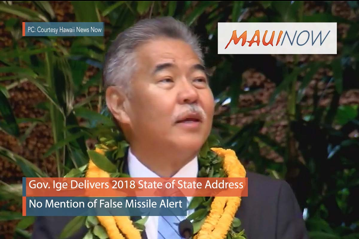 Gov. Ige Delivers 2018 State of State Address