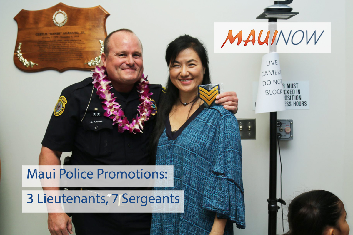 Maui Police Promotions: 7 Sergeants, 3 Lieutenants