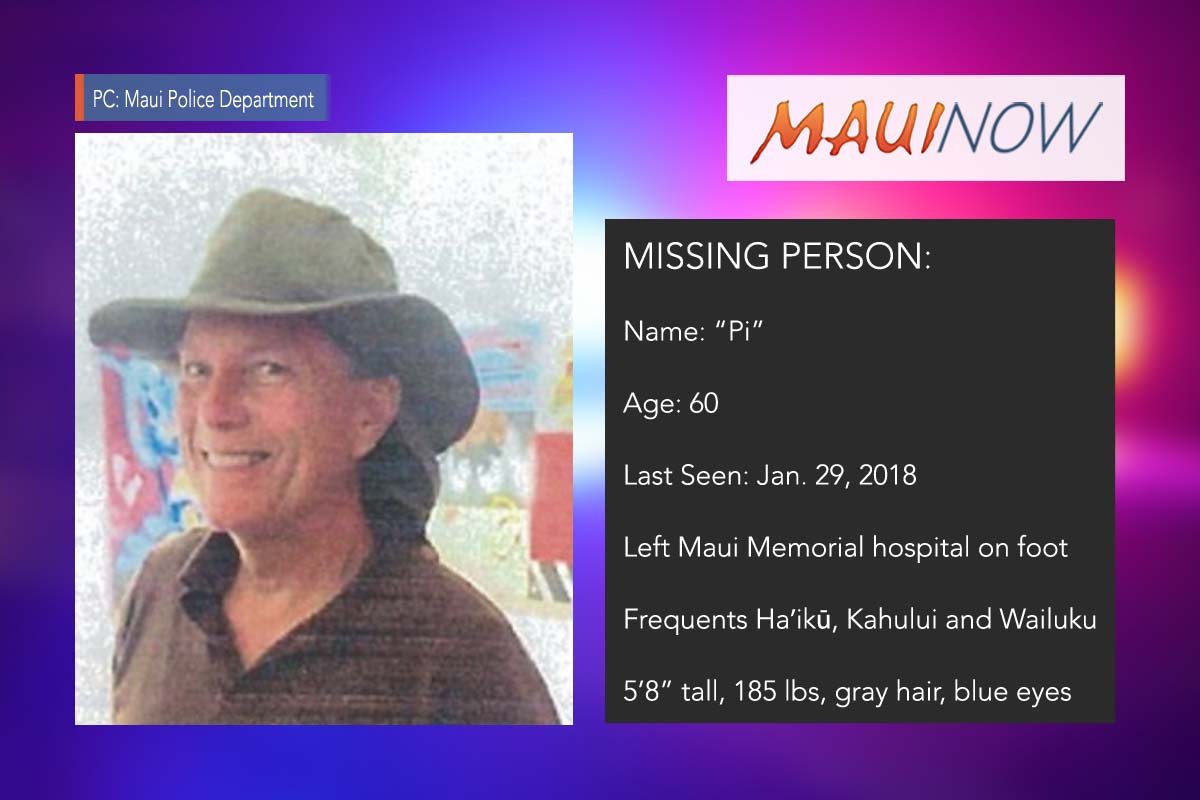 Missing Person: Man Last Seen Leaving Maui Hospital on Foot