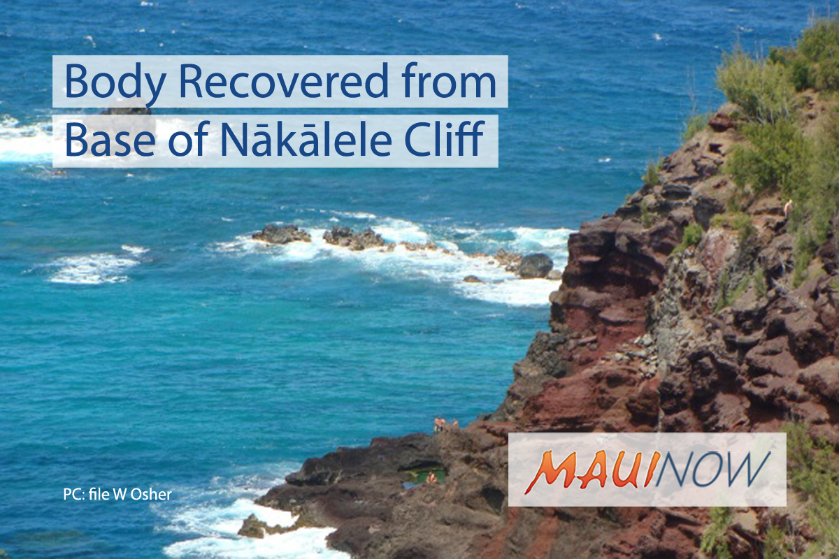 Body Recovered from Base of Nākālele Cliff