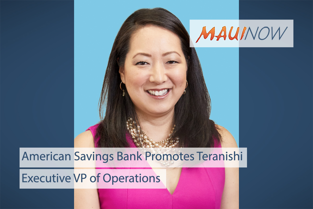 American Savings Bank Promotes Teranishi to Executive VP of Operations