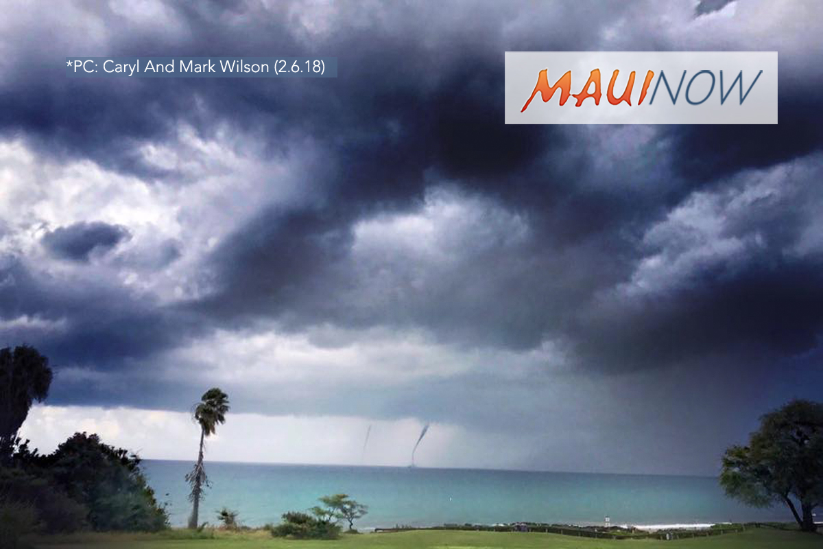 Twin Waterspouts: Unstable Weather Remains