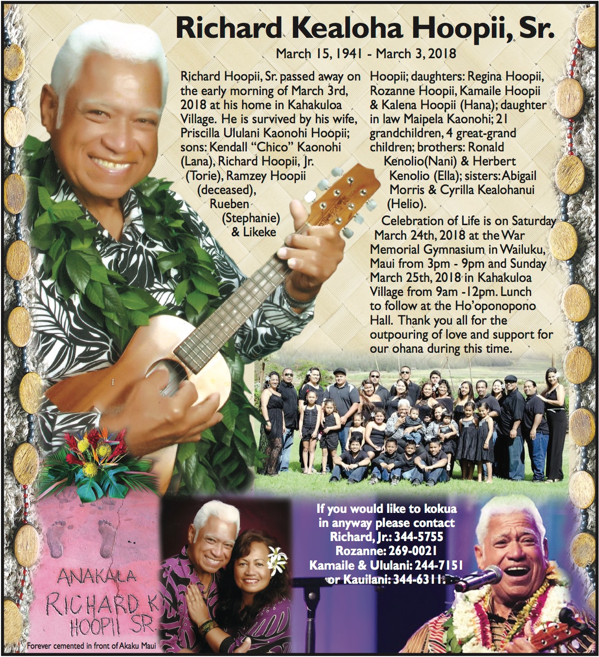 Services Set for Beloved Maui Musician, Uncle Richard Ho'opi'i