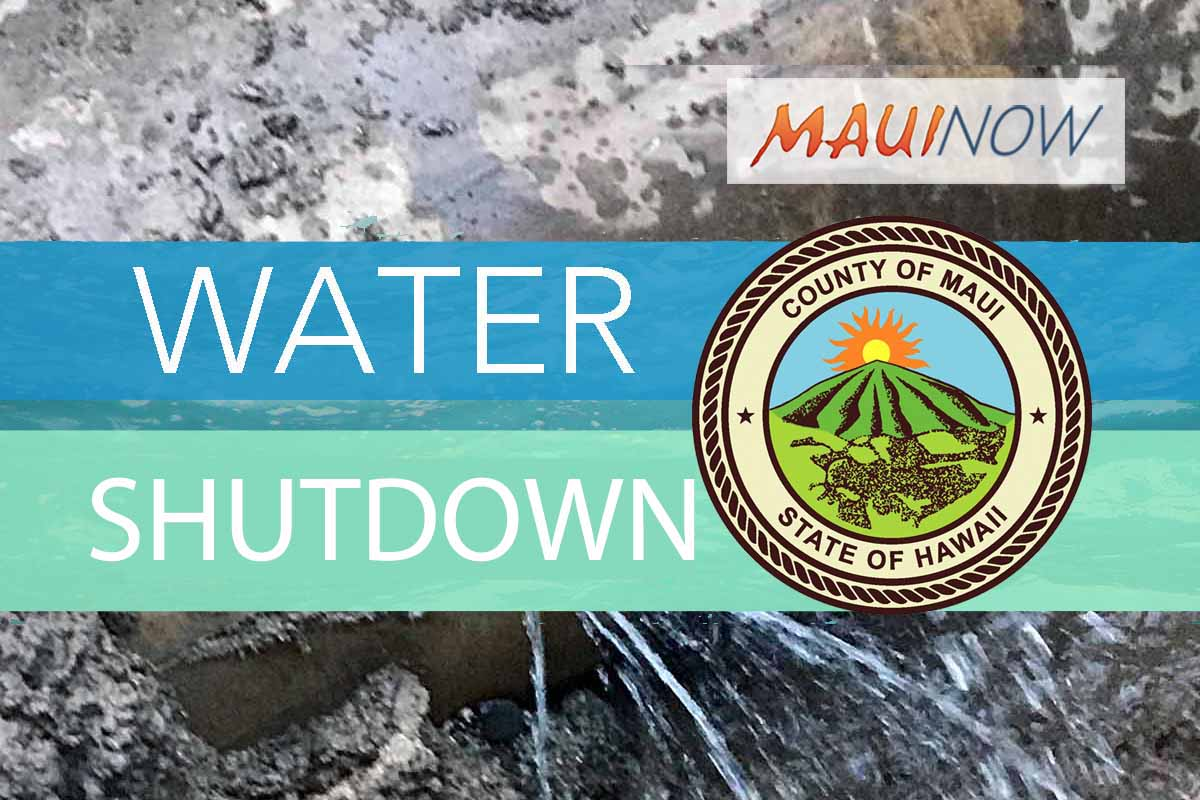 Water Shutdown Affecting Wailuku, May 15