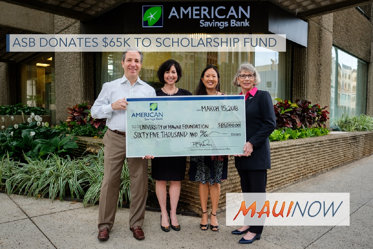 ASB Donates $65K to Scholarship Fund