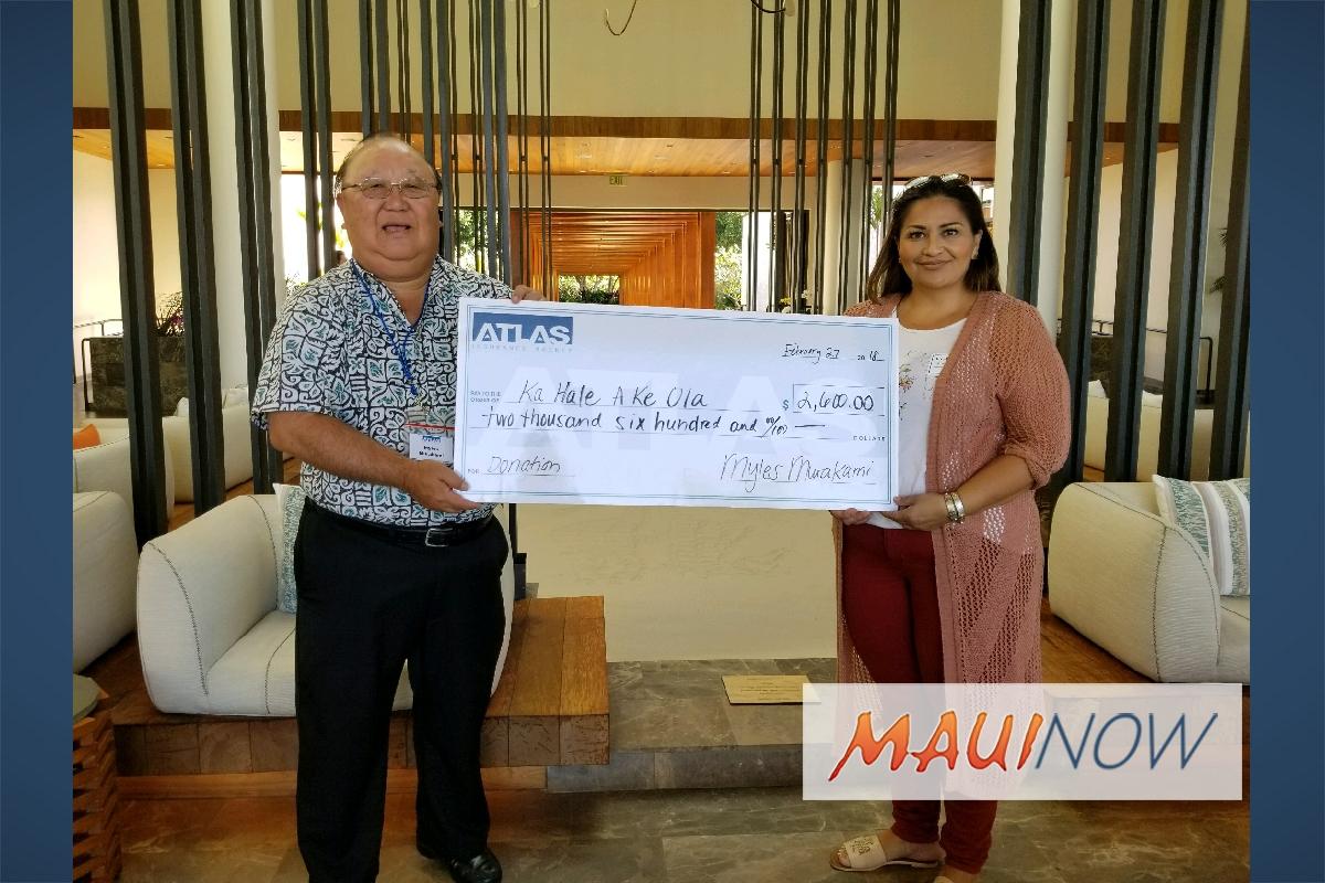 Atlas Insurance Presents Check to Maui Homeless Center