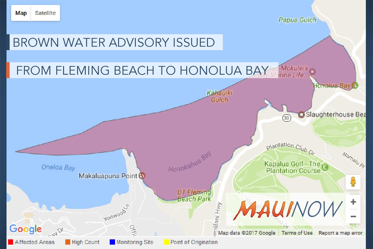 Brown Water Advisory Issued from DT Fleming Beach to Honolua Bay