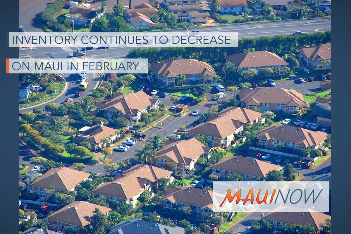 Inventory Continues to Decrease on Maui in February