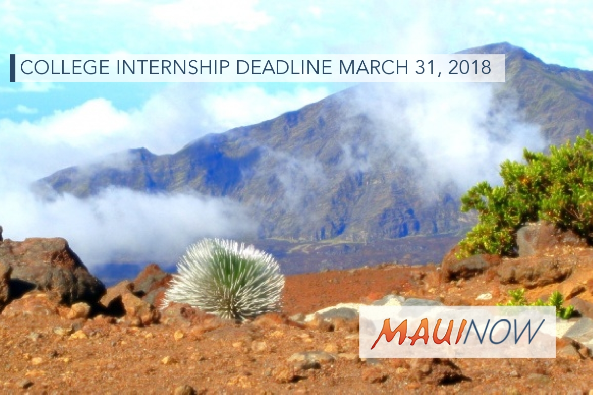 Haleakalā National Park College Internship Deadline March 31, 2018