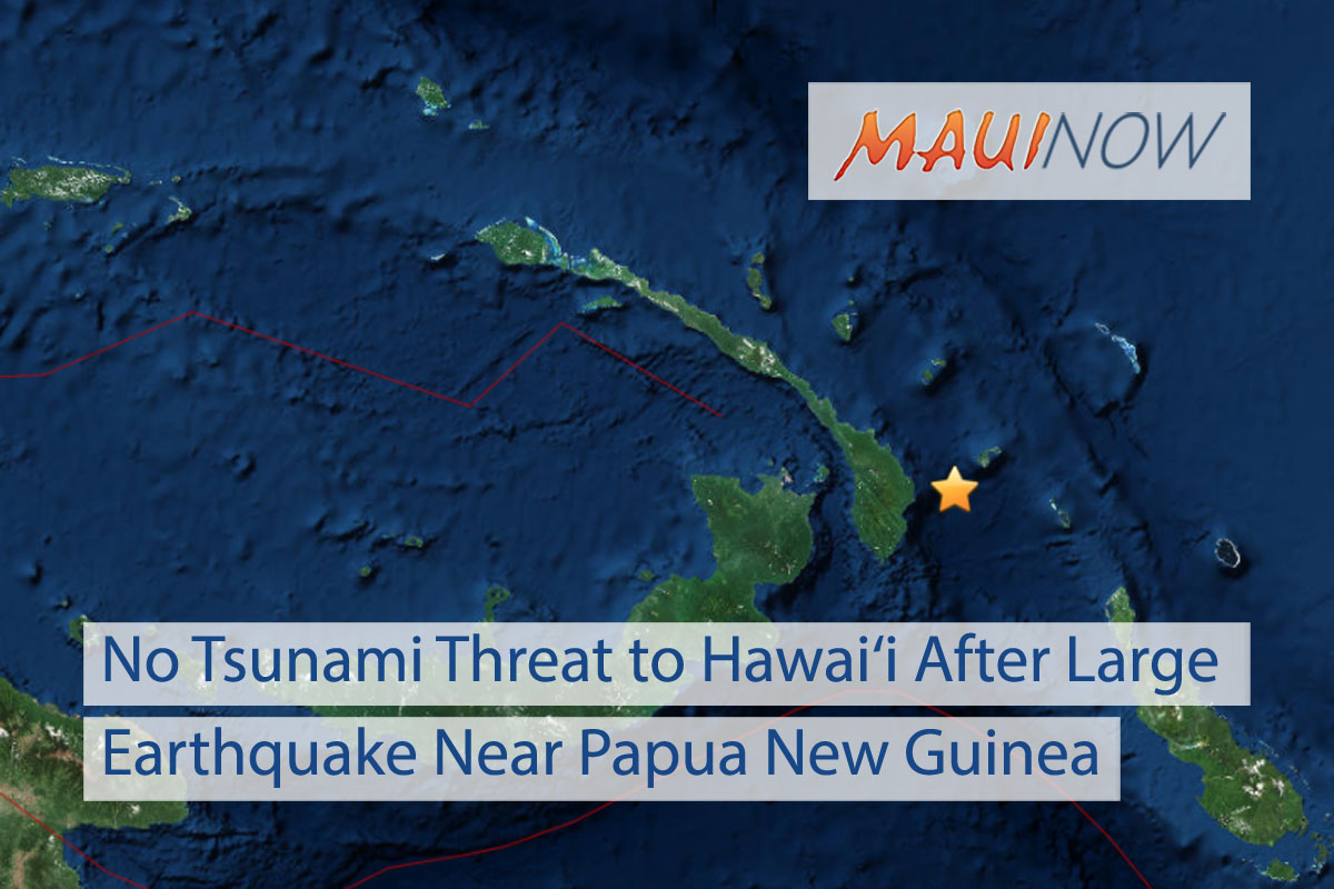 No Tsunami Threat to Hawai'i After Large Earthquake Near Papua New Guinea