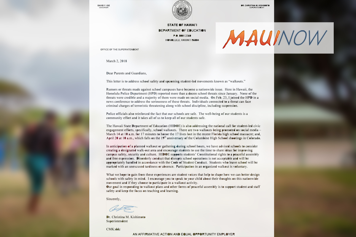 Hawai'i DOE Issues Guidance on Student Walkout