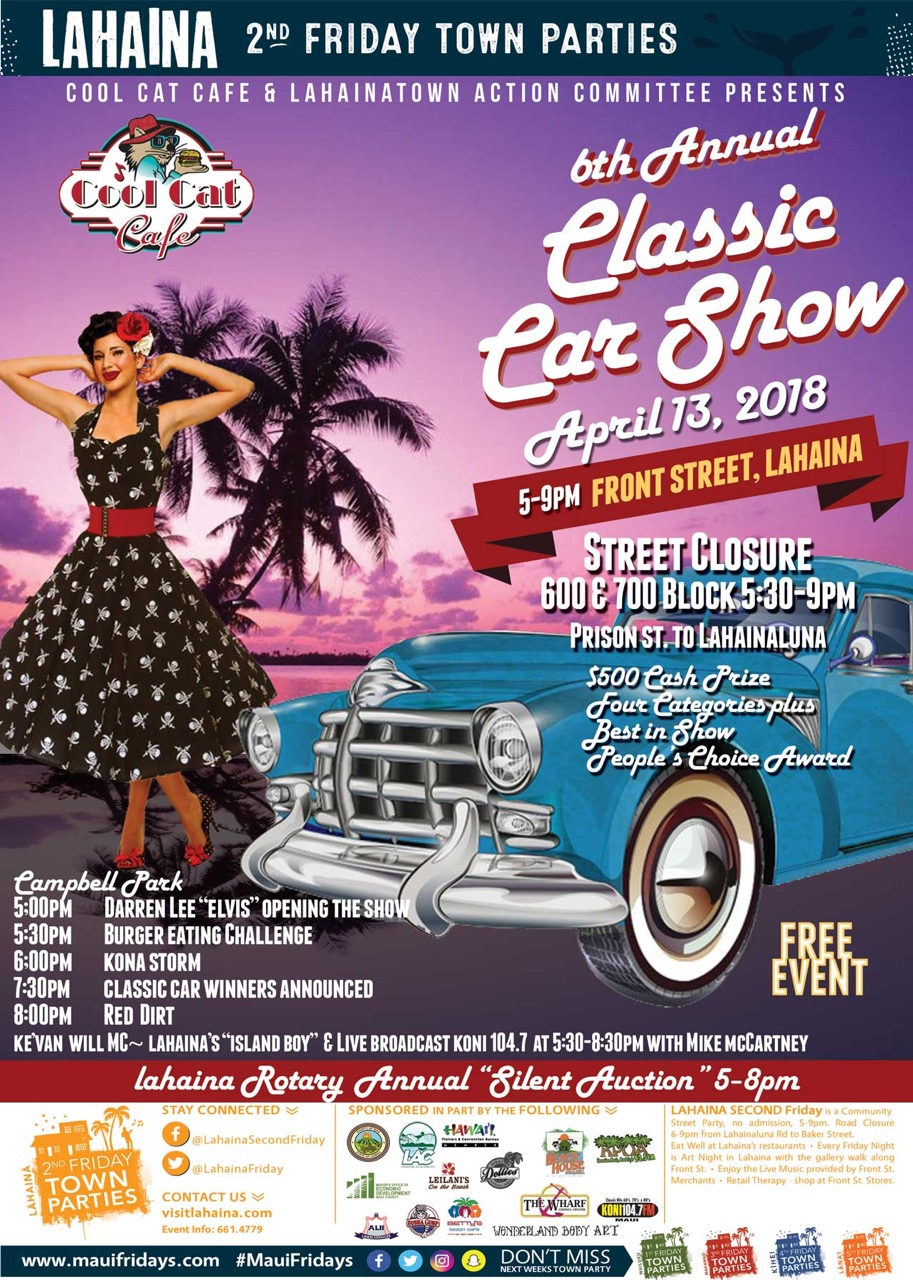 6th Annual Classic Car Show at Lahaina Second Friday