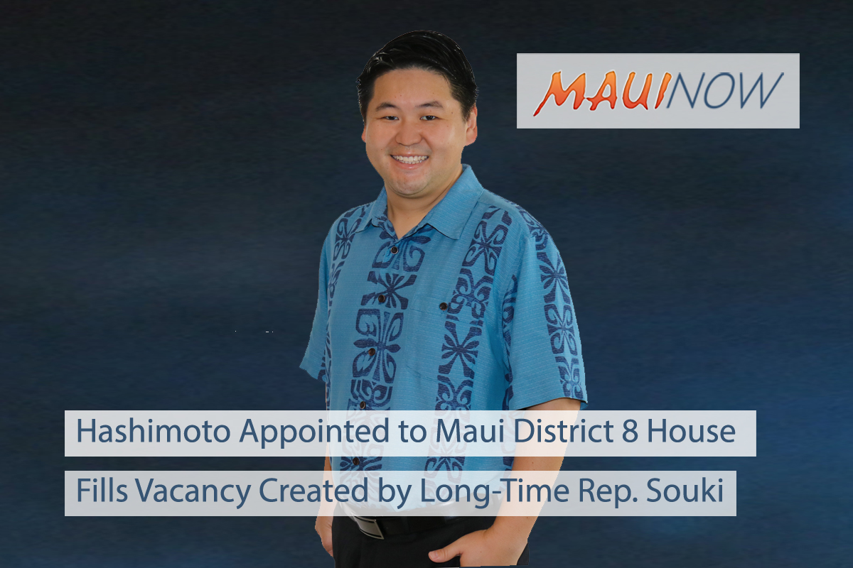 Hashimoto Appointed to Maui District 8 House Seat