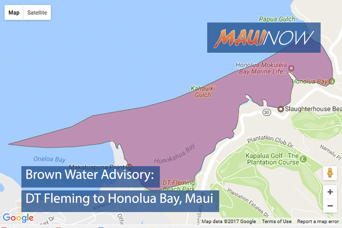 Brown Water Advisory: DT Fleming to Honolua, Maui