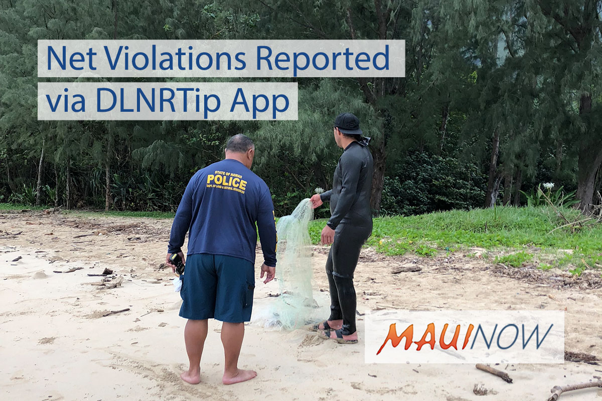 Net and Fishing Violations Reported via DLNR App
