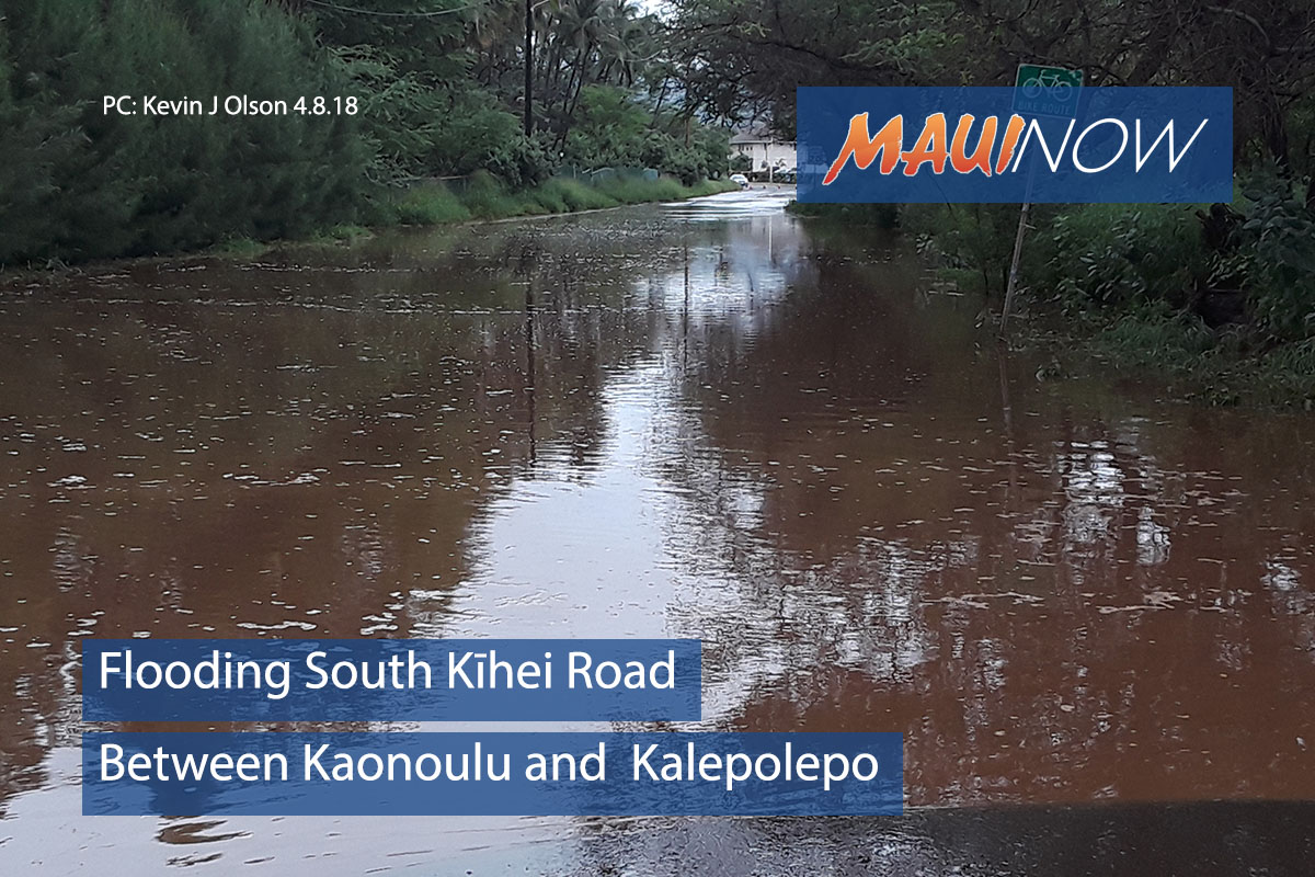 Flooding Forces Temporary Closure of S Kīhei Rd at Kaonoulu